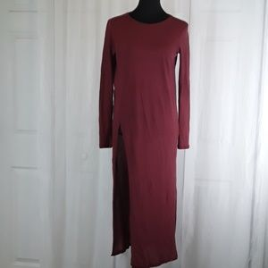 Zara sz M maroon long split shirt dress